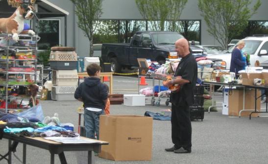 People browsing at garage sale