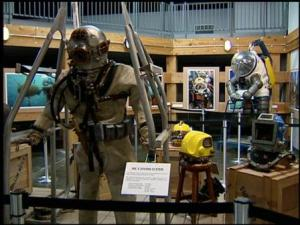 diving equipment on display at the museum