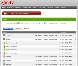 Screenshot of Xfinity Home on desktop