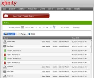 Screenshot of Xfinity Home on desktop