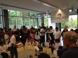 Student competitors and onlookers gather for the robotics competition at TAF's Tech Expo on May 18.