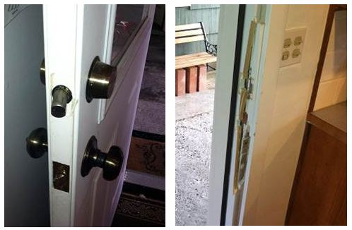 damage to a deadbolt and doorframe